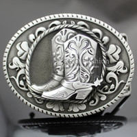 western belt buckles - Vintage Silver Western Cowboy Cowgirl Boots Spur Rodeo Belt Buckle Line Dance Jewelry