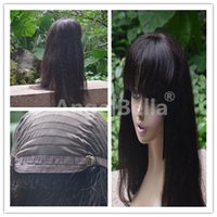 Wholesale 6A Brazilian Peruvian Pure Human Hair Long Wigs With Bangs Deep Wave Lace Front Human Hair Wigs For Black Women