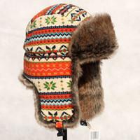 Al por mayor-OC0112 compras libres de alta calidad invierno hombre aviador sombreros del deporte del sombrero ruso tapas de las solapas del oído exterior del bombardero para los hombres