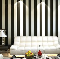 Wholesale Zebra Modern Brief Vertical Black and White Stripe Wallpaper Roll For Living room WP013