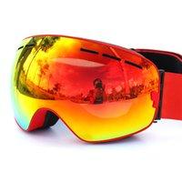 Wholesale 2016 NEW double anti fog ski goggles for men and women unisex import large spherical lens rimless glasses snowboard googles