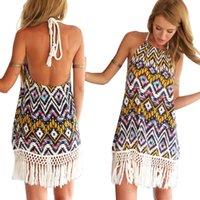 Cheap Wholesale-New 2015 Women Casual Print Dress European Style Vest Vintage Dresses Women Clothing Sexy Sling Print Bohemia Beach Dress