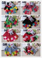 Gants enfants Finger hiver d'enfants tricotés Gants Colorful Full Finger Gants stretch Unisexe Garçons et Filles Gants mitaines Top Quality 4-12T