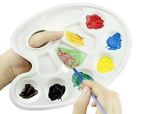 acrylic fish painting - HOT Artist Watercolor Acrylic Paint Tray Fish shape Palette Flat holes White Ten well Paint Tray Palettes