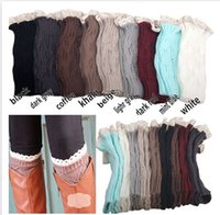 Wholesale 9 Color Fashion Knitting Lace Socks Women Wool High Socks Lady Boots Socks Multicolor Lace Leggings Kneepad A113D2
