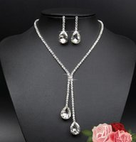 Wholesale 925 Sterling Silver Plated Bridal Jewelry Set Waterdrop Rhinestone Crystal Necklace Earrings for Women Wedding Statement Jewellery