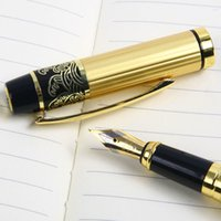 Wholesale New Black Golden Frosted Medium M Nib Steel Fountain Pen For Student Study Writing Gifts Decoration ZH024