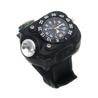 Wholesale Rechargeable Tactical CREE LED Wrist Mechanical Watch Flashlight Outdoor Sports Torch Lamp WristLight with Compass