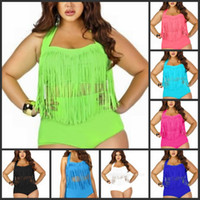 Wholesale PLUS SIZE Big and Beautiful Womens Retro Fringe Tassel Top High Waisted Bikini Push Up Bandeau Rockabilly Swimwear Swimsuit