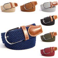 Wholesale Men Women Canvas Plain Webbing Metal Buckle Woven Stretch Waist Belt Colors
