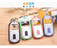 Wholesale 500pcs in LED Flashlight Torch Keychain With Beer Bottle Opener Key Ring Chain By DHL