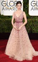 anna kendrick - Anna Kendrick nd Golden Globe Tulle Celebrity Dresses Nude Plum V Neck Sleeveless Sweep Train Applique Thin Belt Red Carpet Dress