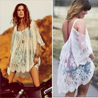bell cover - Sexy Beach Lace Women Plus Size Tops Long Sleeve See Through Casual Crochet Spagetti Strap Beach Cover Up Beachwear Bathing Suit Cover Ups