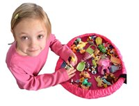 bin bag - Portable Kids Toy Storage Bag Play Mat Big Toys Organizer Bin Box for LEGO Toys