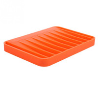 Wholesale Fashion Silicon Kitchen Bathroom Flexible Soap Case Dish Plate Holder Tray Soapbox Orange