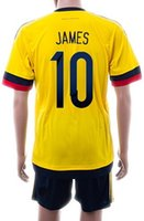 men suit fashion - 2015 Fashion Colombia home JAMES Athletic Jersey suit Sports Outdoors Soccer Sets NEW Cheap High Quality Football Shirts With Shorts