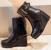 Wholesale ENMAYER size Autumn Winter women boots Gothic punk shoes wedges High Platform Ankle Boots zip fashion Martin boots sale boots winter