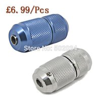 alloy aluminium grip - USA Dispatch High Quality Blue Slivery Aluminium Alloy amp stainless steel Self locking Tattoo Grip Tube for tattoo gun