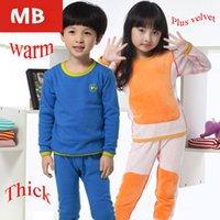 Wholesale kids Children Thermal Underwear Boys And Girls Gold Velvet Fall And Winter Thick Underwear Sleepwear kids pajamas