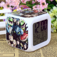 Wholesale Frozen How to train your dragon dvd movies Retail And New LED Colors Change Digital Alarm Clock Frozen Night Colorful Glowing Clock OEM3