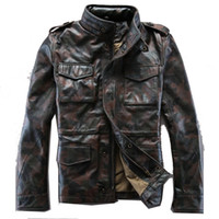 alpha leather jacket - Fall Couples mounted Camouflage Stand collar Multi pocket Genuine Leather Thickening Cowhide Leisure Alpha jerkin jackets