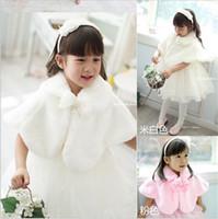 Wholesale 2015 Autumn and Winter Girls Faux Wool Coat Kids Korean Girl Wedding Dress Short White Pink Cape Jacket Flowers Cloak Coat Kids Poncho