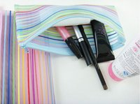 beauty bookmark - colour stripe line to receive transparent wash gargle bag finishing receive net cloth pen bag beauty tools B016