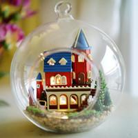 alice building - DIY Glass Ball Doll House Model Building Wooden Mini Handmade Miniature Dollhouse Toy Birthday Greative Gift Alice Dream Castle