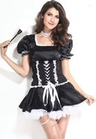 Wholesale New style Black White French Maid Costume Set women cosplay costumne B6084AF