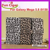 Cheap Fashion Leopard Wallet Flip Leather Case Cover With Credit Card Slot Slot Holder Stand For Samsung Galaxy Mega 5.8 i9150