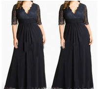 Cheap Plus Size Special Occasion Dresses V neck Sexy Lace Black Evening Gowns Ruffle Mother of the Bride Dresses Wedding Party Plus Long Dresses