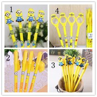 Wholesale 2015 D Minions Despicable Me Gel Pens Black Gel ink Pens with minion deco and A magnifying glass