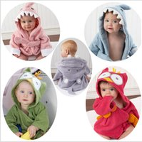 baby shark robe - 2015 Baby Infant color Cotton Wicking sleep Robes Owl Shark Hippo Panda Lion Monsters Night robes Bathrobe sleepwear pajamas TOPB3736
