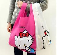 Wholesale KT Waterproof Solid Folding Shopping Bag Nylon Handbag Travel Bags