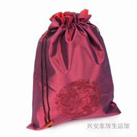 drawstring shoe bag - New Chinese style Embroidery Dragon Bunk Shoe Cover Reusable Drawstring Silk Fabric Storage Bags Mix Color