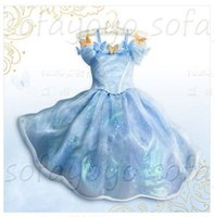 baby blue movies - 2015 New Baby Girls Cinderella Princess Blue Dress Cosplay Costume Movie Custom Made Party Butterfly Lace dresses