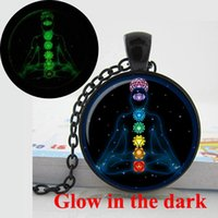 animal symbols - GL Glow in the Dark Pendant Chakra symbols pendant chakra symbols necklace photo glass cabochon necklace pendant Glowing jewelry