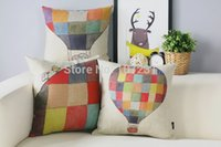 balloon drawings - 3pcs x45cm Cushion Cover Hand Drawing Colorful Hot Balloon Throw Pillow Case Kids Room Home Decorective Cover