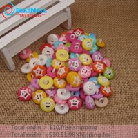 Cheap Min Order $10 Free Shipping!200pcs 14*14mm 1 hole Button Mix color Round Shape Star Resin Craft Scrapbooking Accessories DIY067