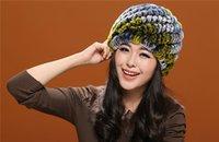 Wholesale QA03 Women Hat Rex Rabbit Fur Hat fur rabbit hair hat female double warm winter girl earmuffs HAT knit cap