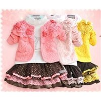 Wholesale kids clothes kids clothes baby girls clothing set new baby girls set t shirt coat skirt sweet girls lace dress suits