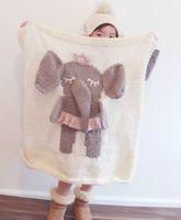 babies handmade carpet - Children Knit blanket Kids baby three dimensional manual cartoon design blanket elephant Handmade carpet Air conditioning T1110