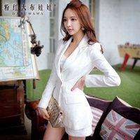 Wholesale Dabuwawa Office Lady s Elegant Long Sleeve Single Button Bodycon Classic White Lace Blazer