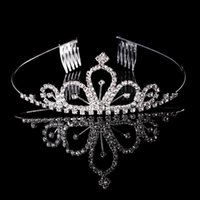 Wholesale Silver Blue Headbands - 10PCS Rhinestone Tiara Headband Sliver Plated Alloy Metal Crown Tiara Hair Combs Women's Girl's Children's Party Birthday Hair Jewelry