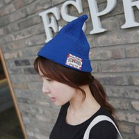 Wholesale Spring Tide cap crimping Korea Institute of wind letters pointy little fresh patch pointed knitting wool cap hat