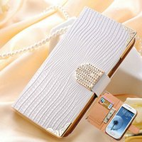 Cheap Wholesale-Bling Shining Crystal Flip PU Leather Case For Samsung Galaxy S3 mini i8190 Luxury Phone Bag Rhinestone Wallet Cover