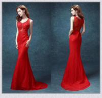 best fabric for dresses - Lace Fabric Sexy Red Prom Dresses V Neck Tulle Backless Best Evening Dresses with Applique Court Train Formal Evening Gowns for