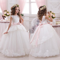 applique kids - Cheap Lace Ball Gown Little Bridal Flower Girls Dresses For Wedding Party Princess Ruffle Bow Floor Length Tulle Kids Girls Pageant Dresses