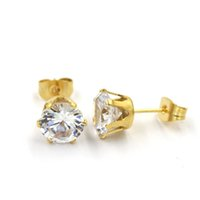 Wholesale 6MM clear crystal gold color stainless steel earring studs i e pairs