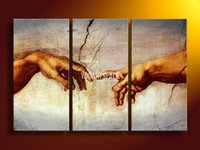 Cheap 3 Panel Wall Art Modern Abstract Creation Of Adam By Michelangelo Oil Painting On Canvas Large Cheap For Home Decor Picture